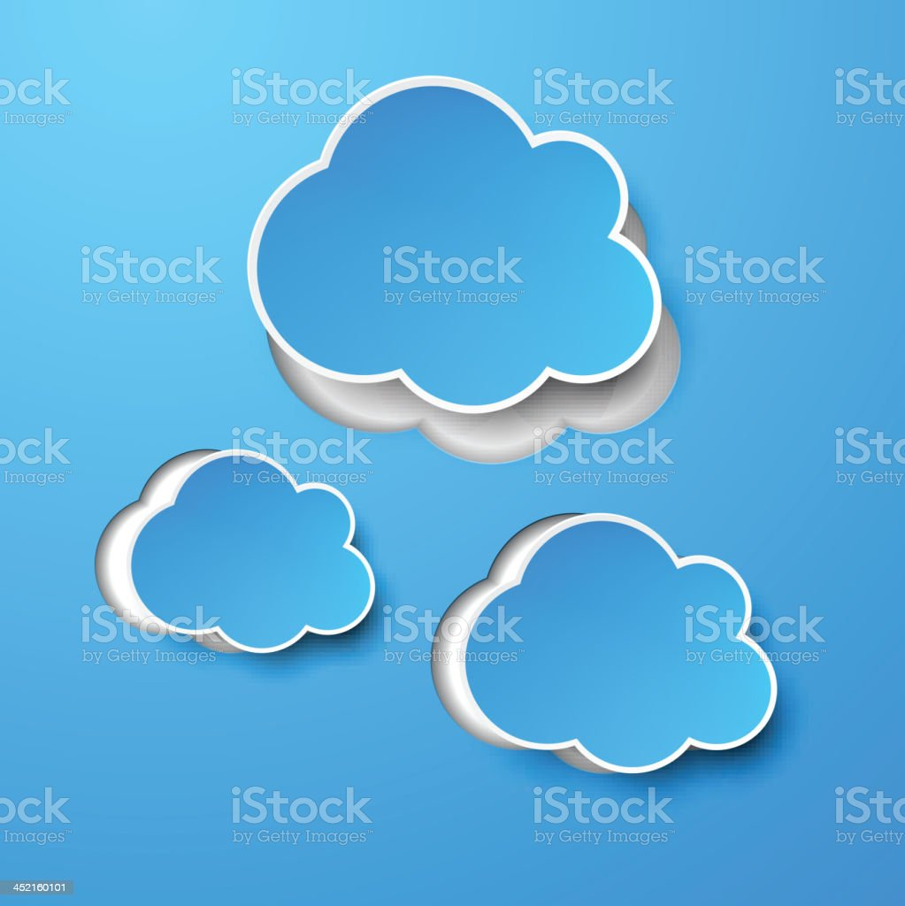 Paper blue clouds. royalty-free stock vector art