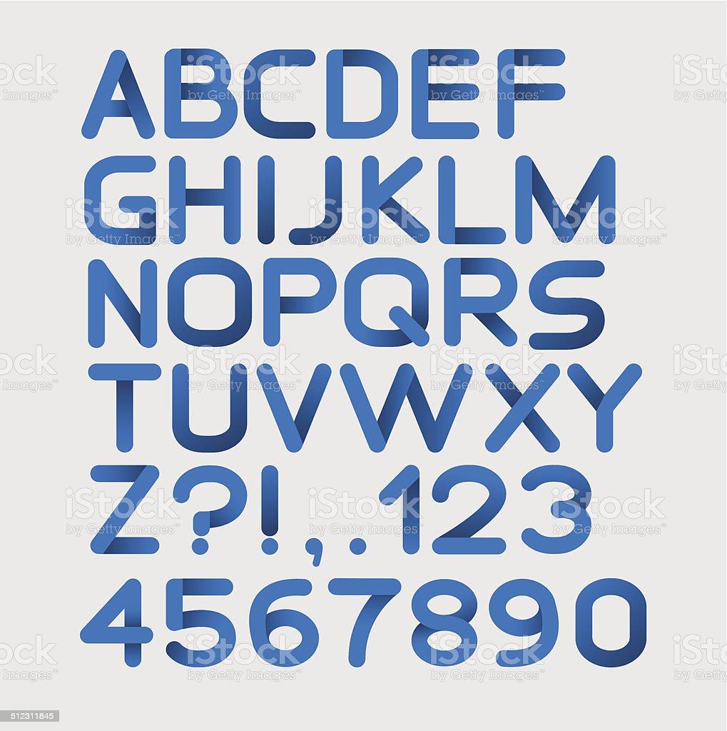 Бумага синий строгие алфавит закругленный векторная иллюстрация