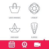 Paper boat, flippers and lifebuoy icons.