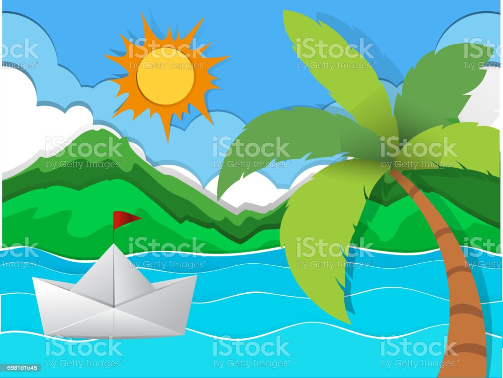 Paper boat floating in the sea vector art illustration