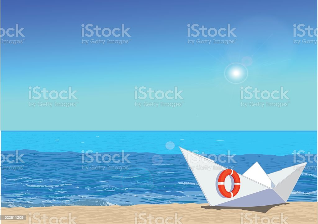 Paper boat on beach, vector illustration vector art illustration