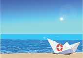 Paper boat on beach, vector illustration