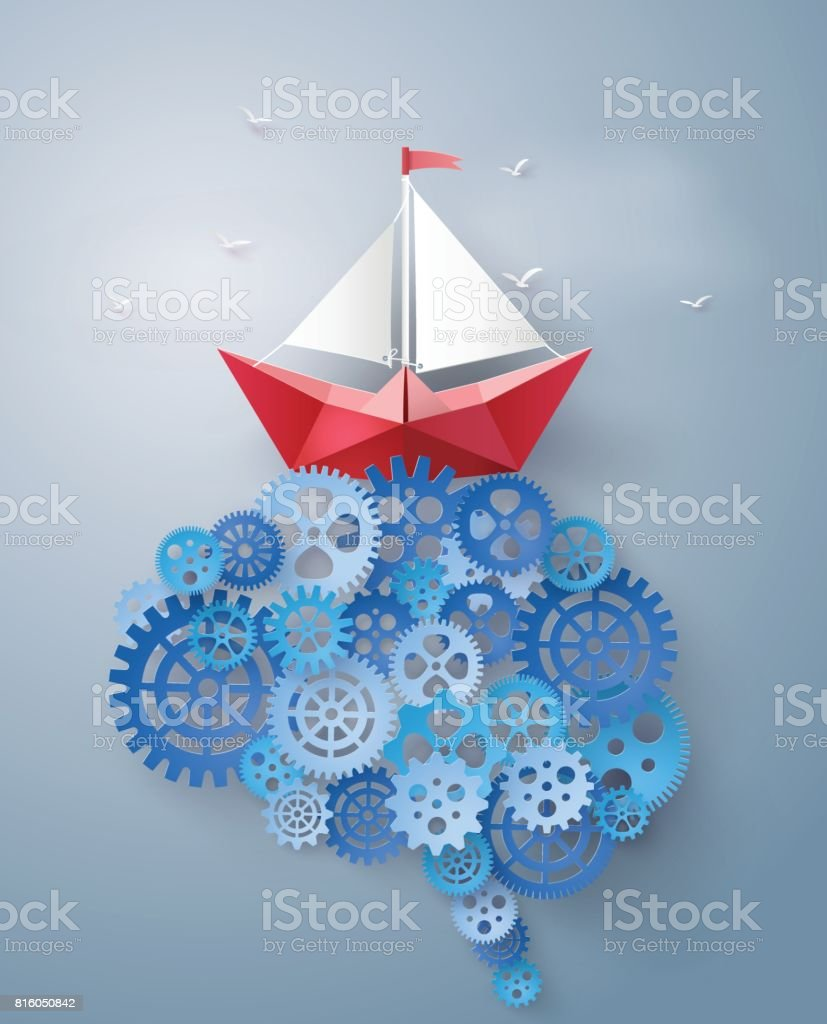 paper boat sailing float on the brain gear vector art illustration