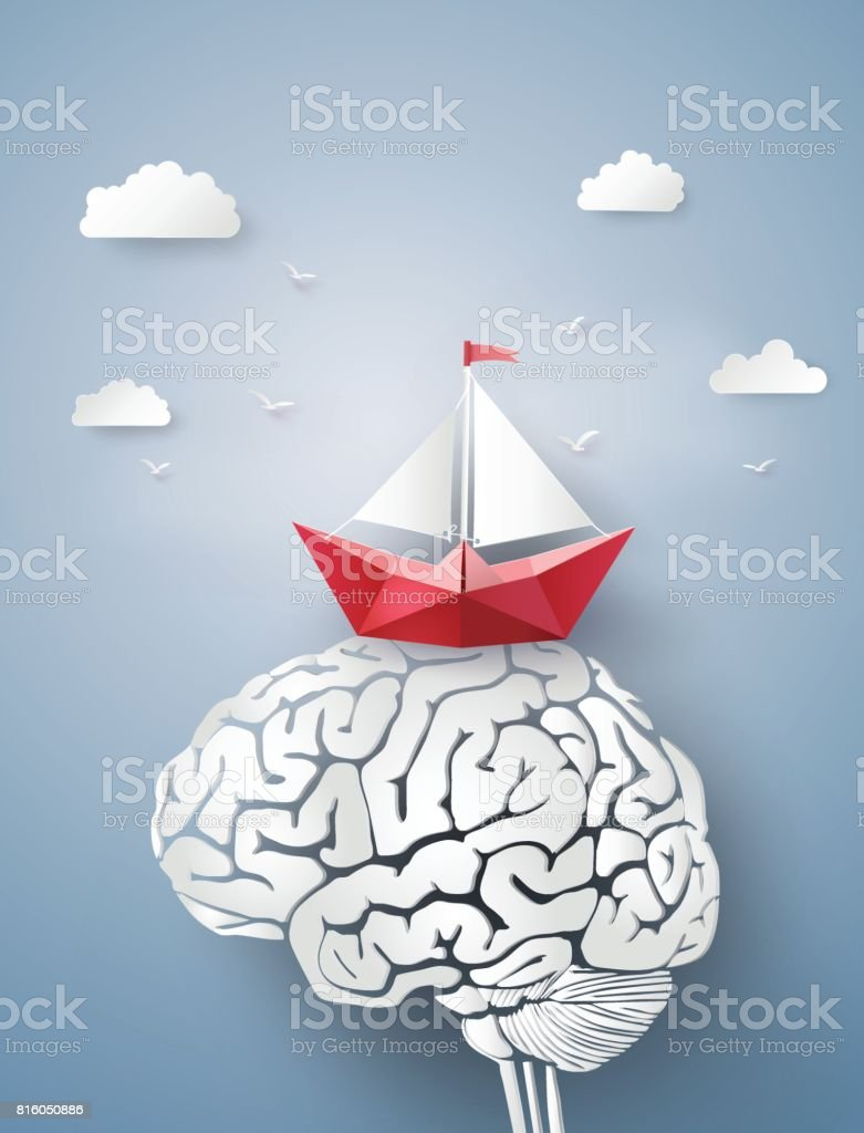 paper boat sailing float on the brain vector art illustration