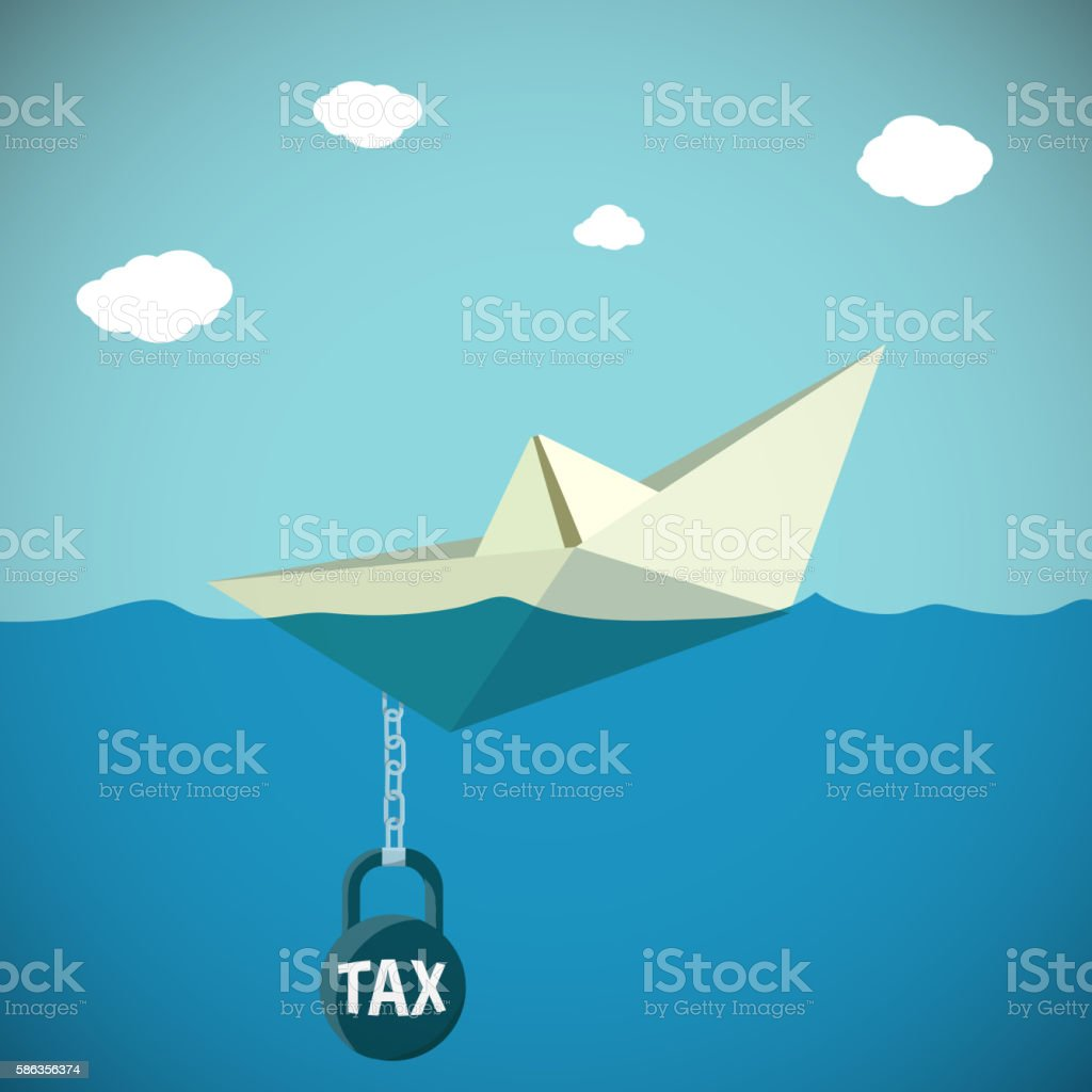 Paper Boat sinks in water. Kettlebell with the inscription tax. vector art illustration