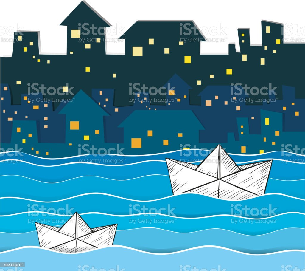 Paper boats floating along the river in city vector art illustration