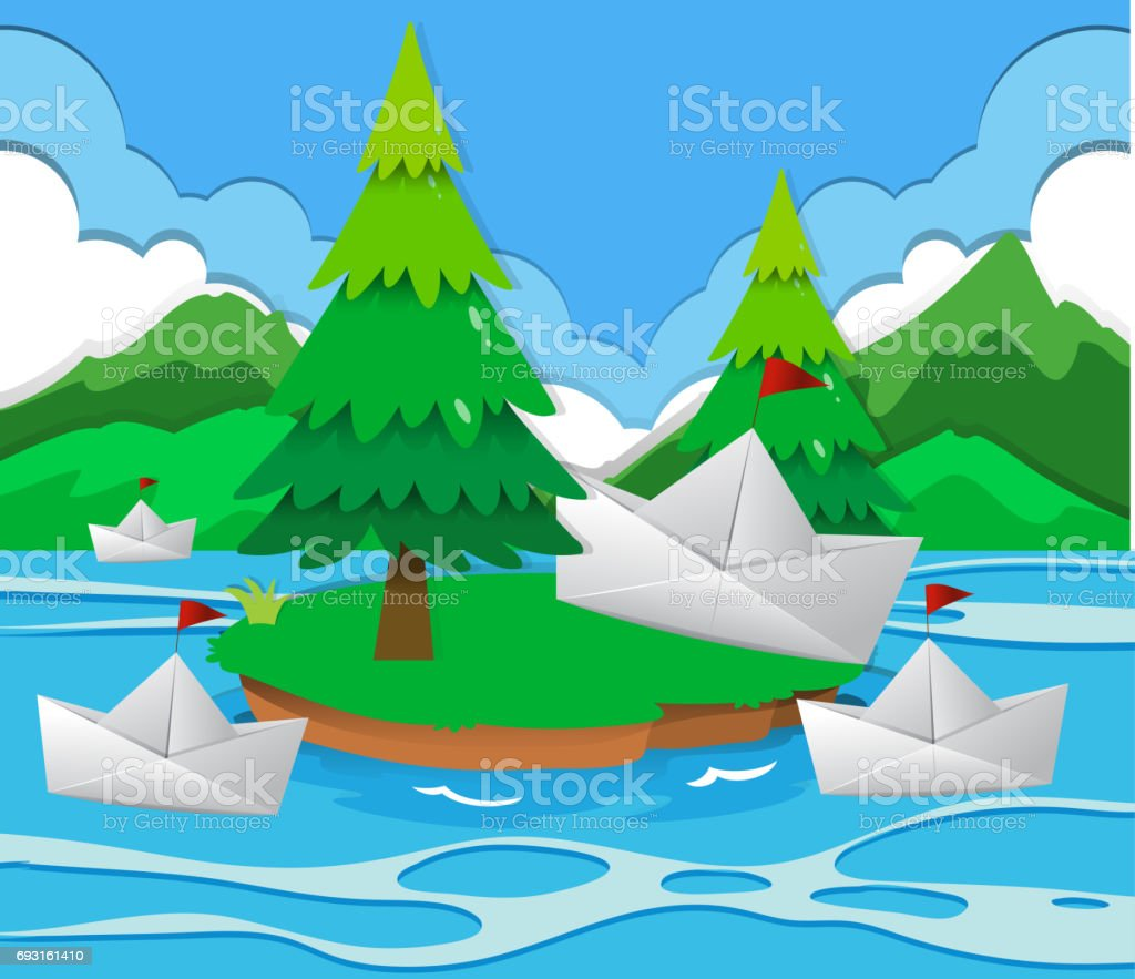 Paper boats floating on the lake vector art illustration