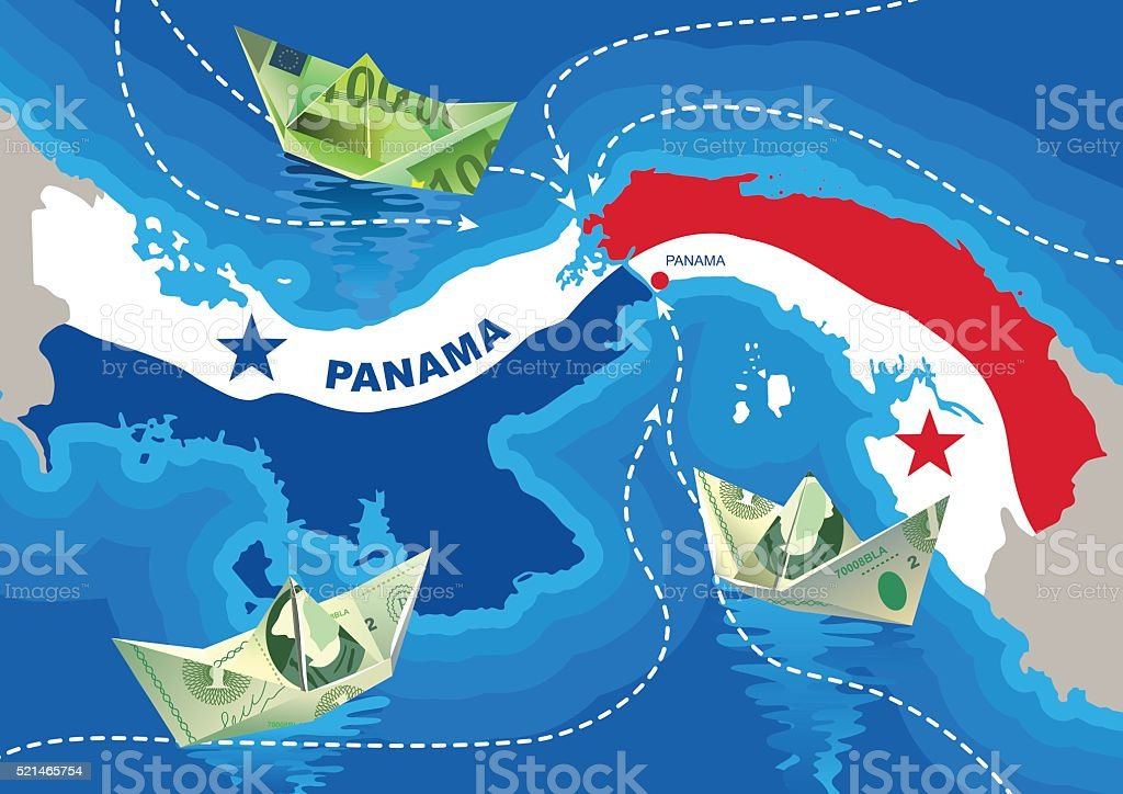 Paper boats from dollars and euros in the Panama Canal vector art illustration