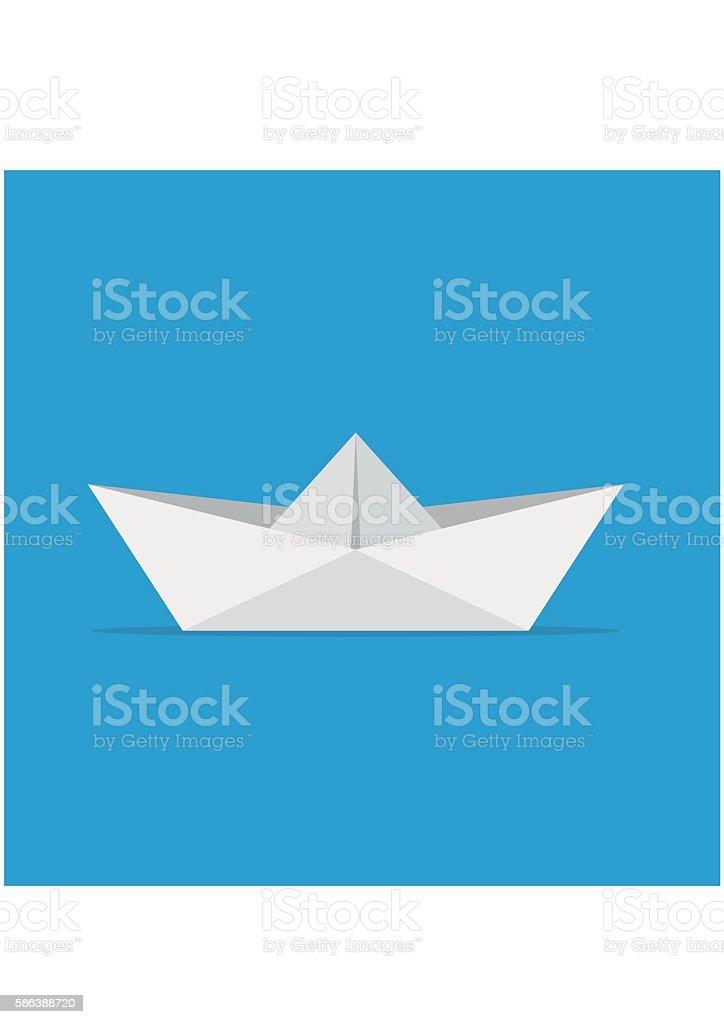 Paper boats ship origami toy vessel water transport. vector art illustration
