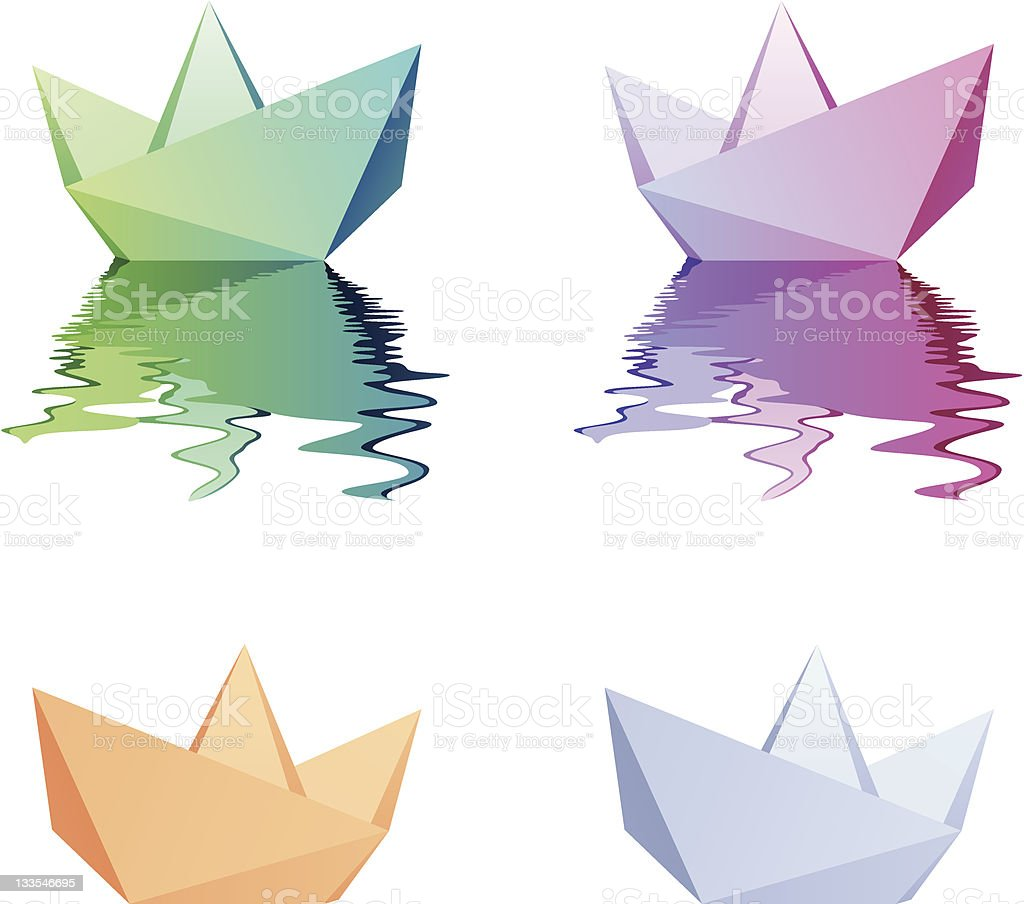 Paper boats royalty-free stock vector art
