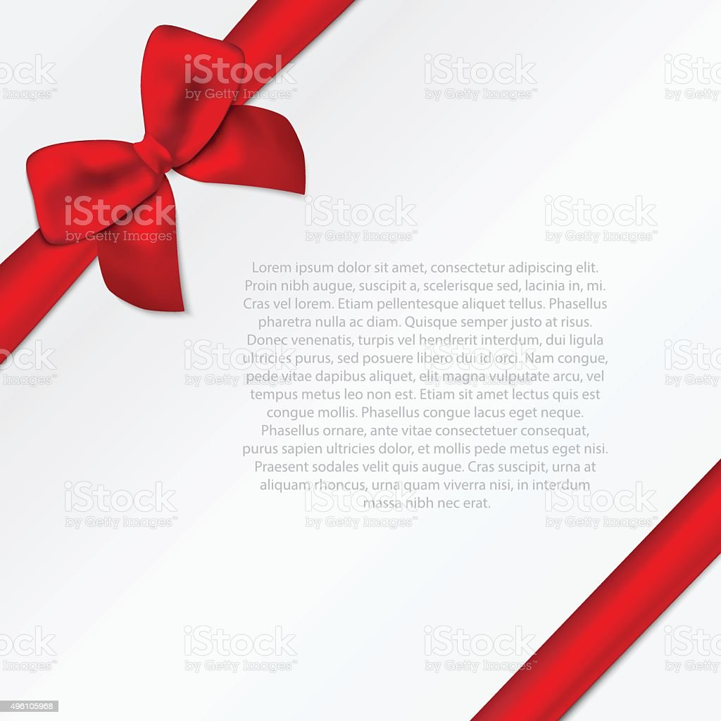 Paper card with diagonal ribbon and tied bow. vector art illustration