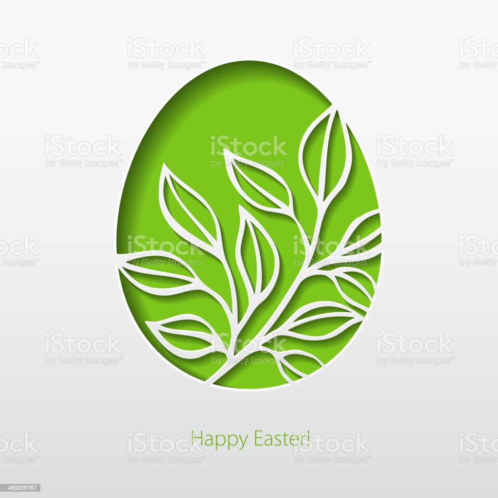 Paper card with Easter eggs. Vector illustration vector art illustration