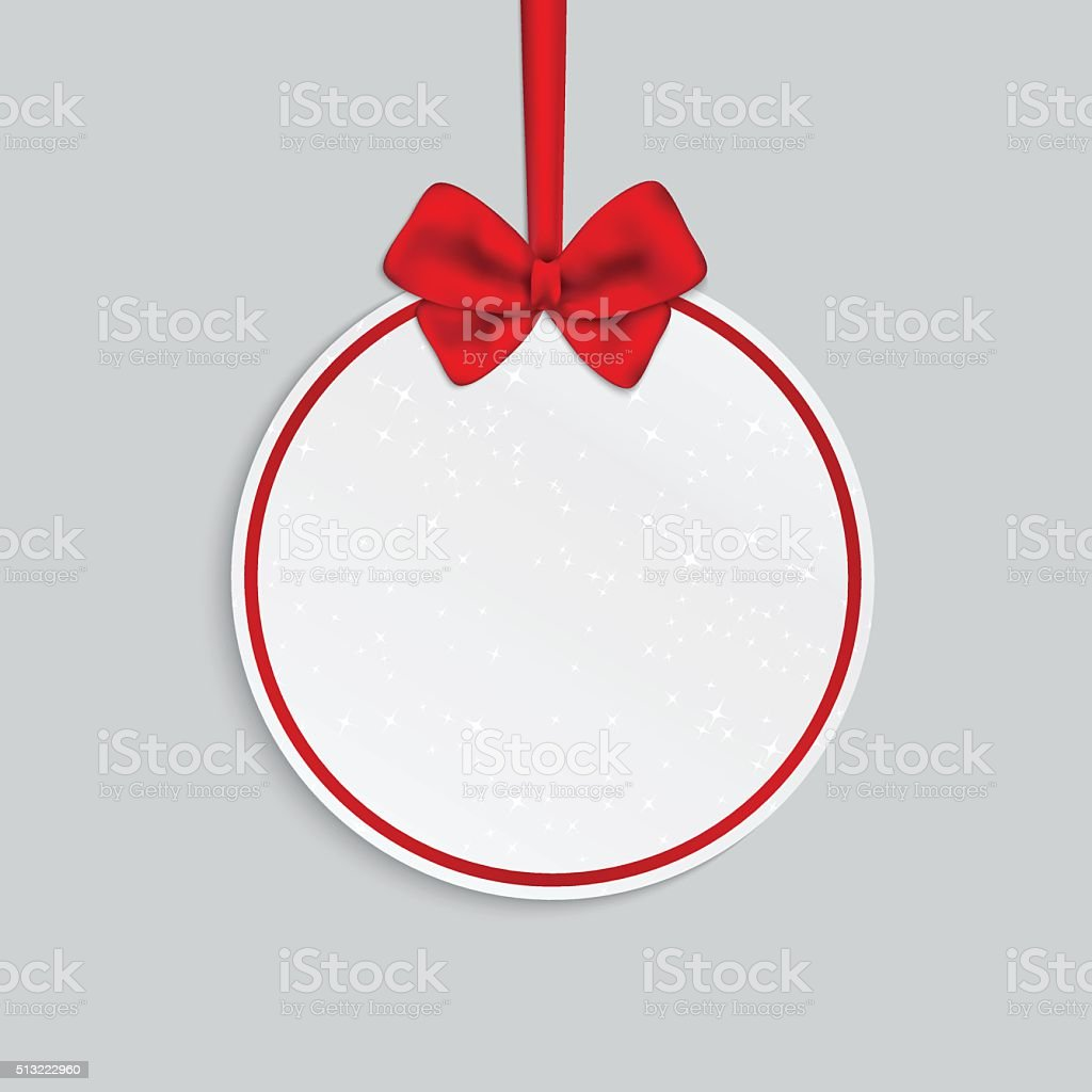 Paper card with tied bow on the top. vector art illustration