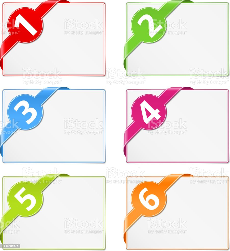 Paper Cards with Corner Ribbons royalty-free stock vector art