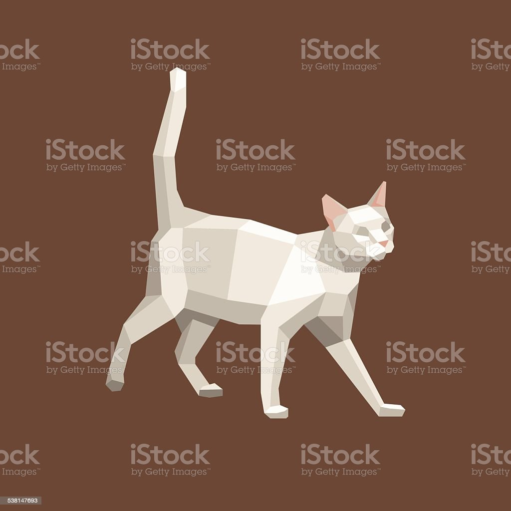 Paper cat vector art illustration