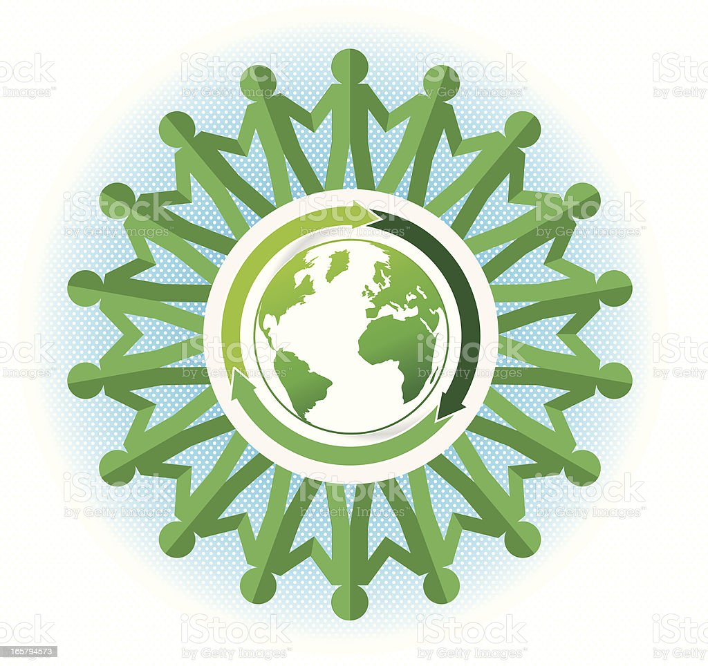 paper chain green people around the world vector art illustration