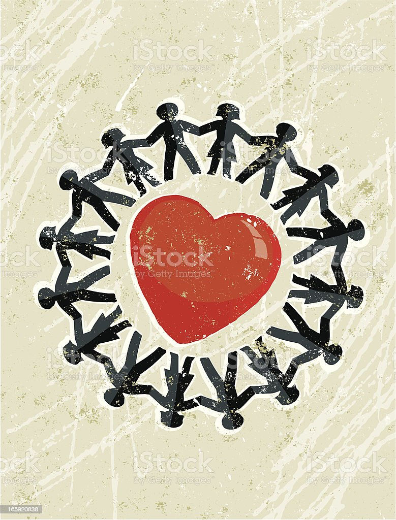 Paper chain men and woman around a big red heart vector art illustration