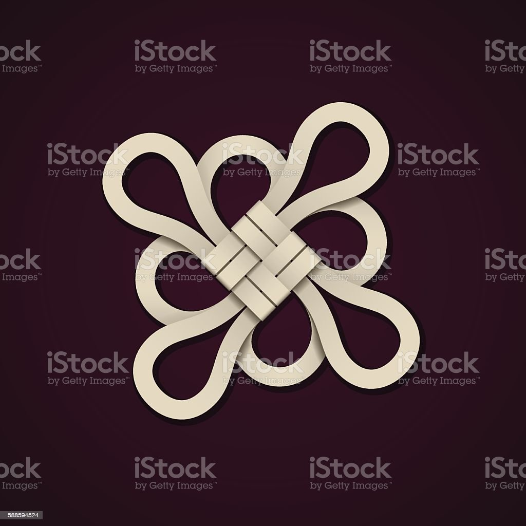 paper chinese knot design template vector art illustration