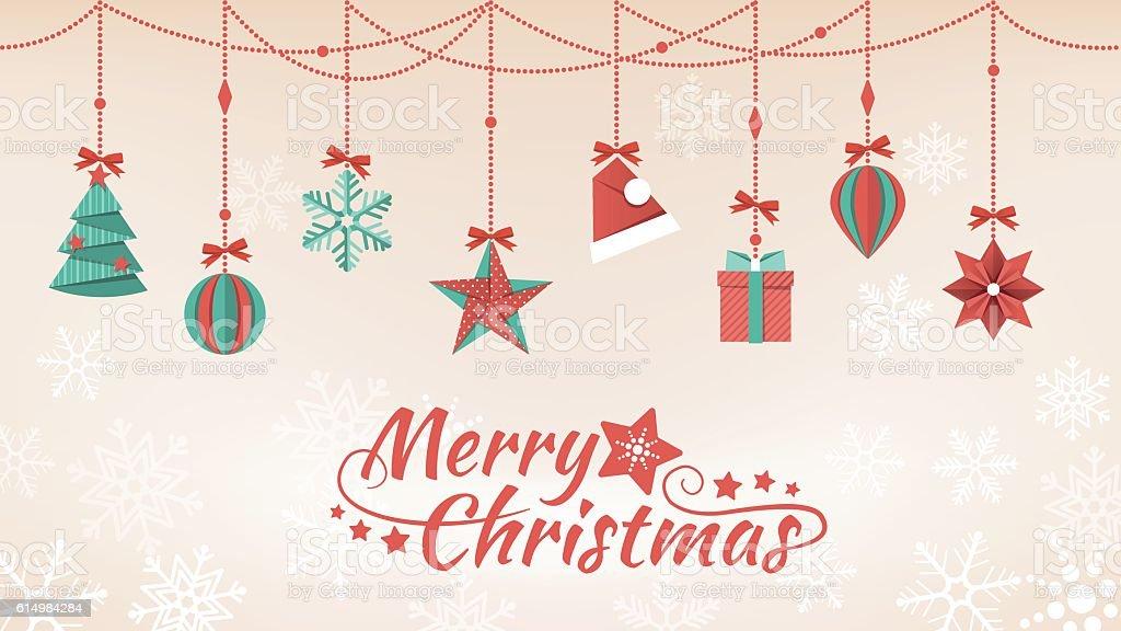 Paper Christmas decorations vector art illustration