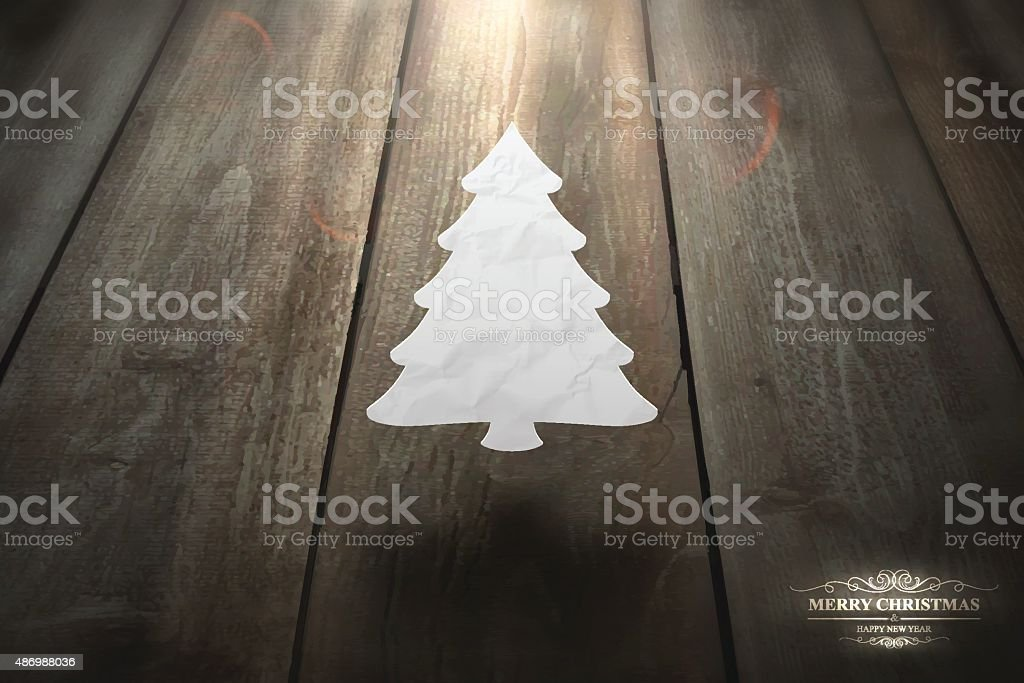 Paper Christmas tree floating in the air on wood floor vector art illustration