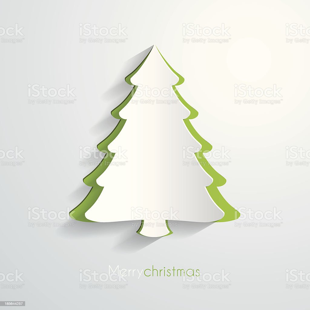 Paper christmas tree vector art illustration