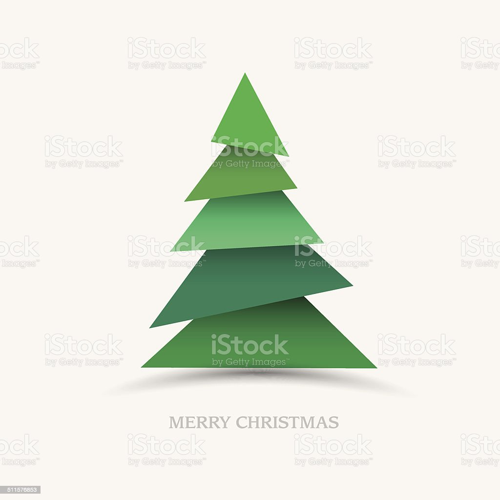 Paper christmas tree vector art illustration