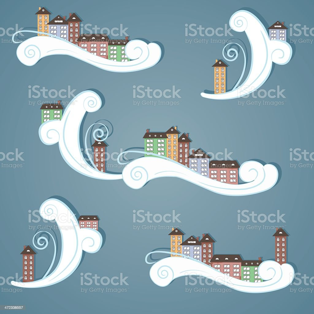 Paper city in the sky. royalty-free stock vector art