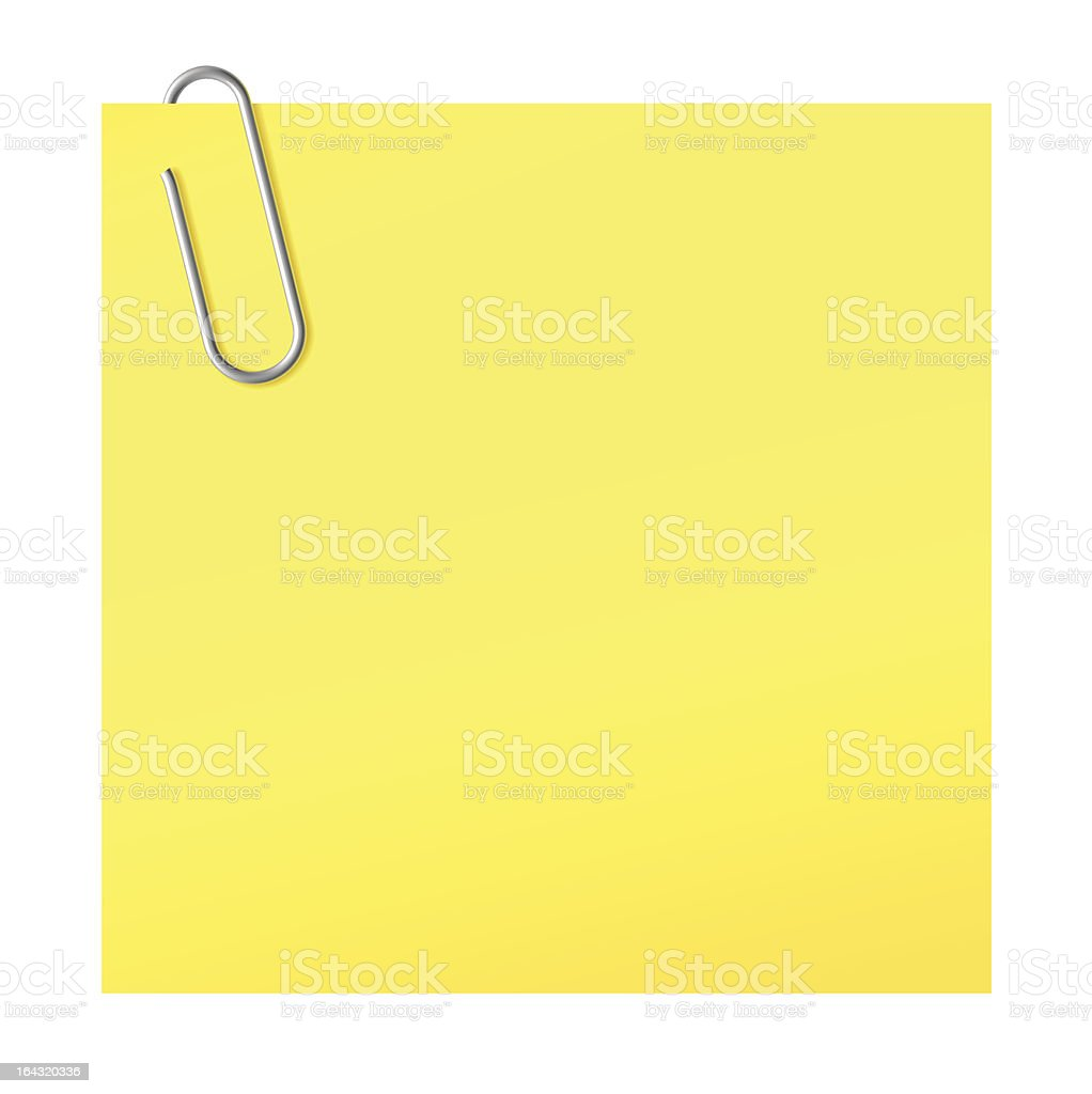 Paper clip and yellow sticker | Vector World series royalty-free stock vector art