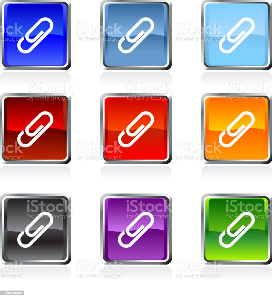 paper clip royalty free vector Icon button  9 color royalty-free stock vector art