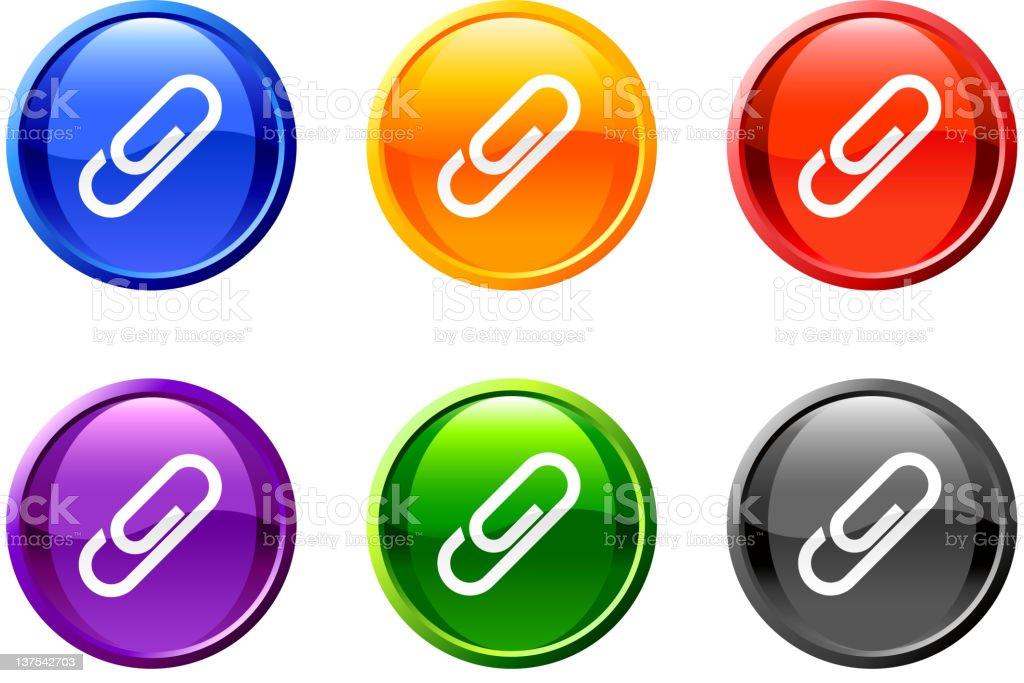 paper clip Vector Icon button set in 6 color royalty-free stock vector art