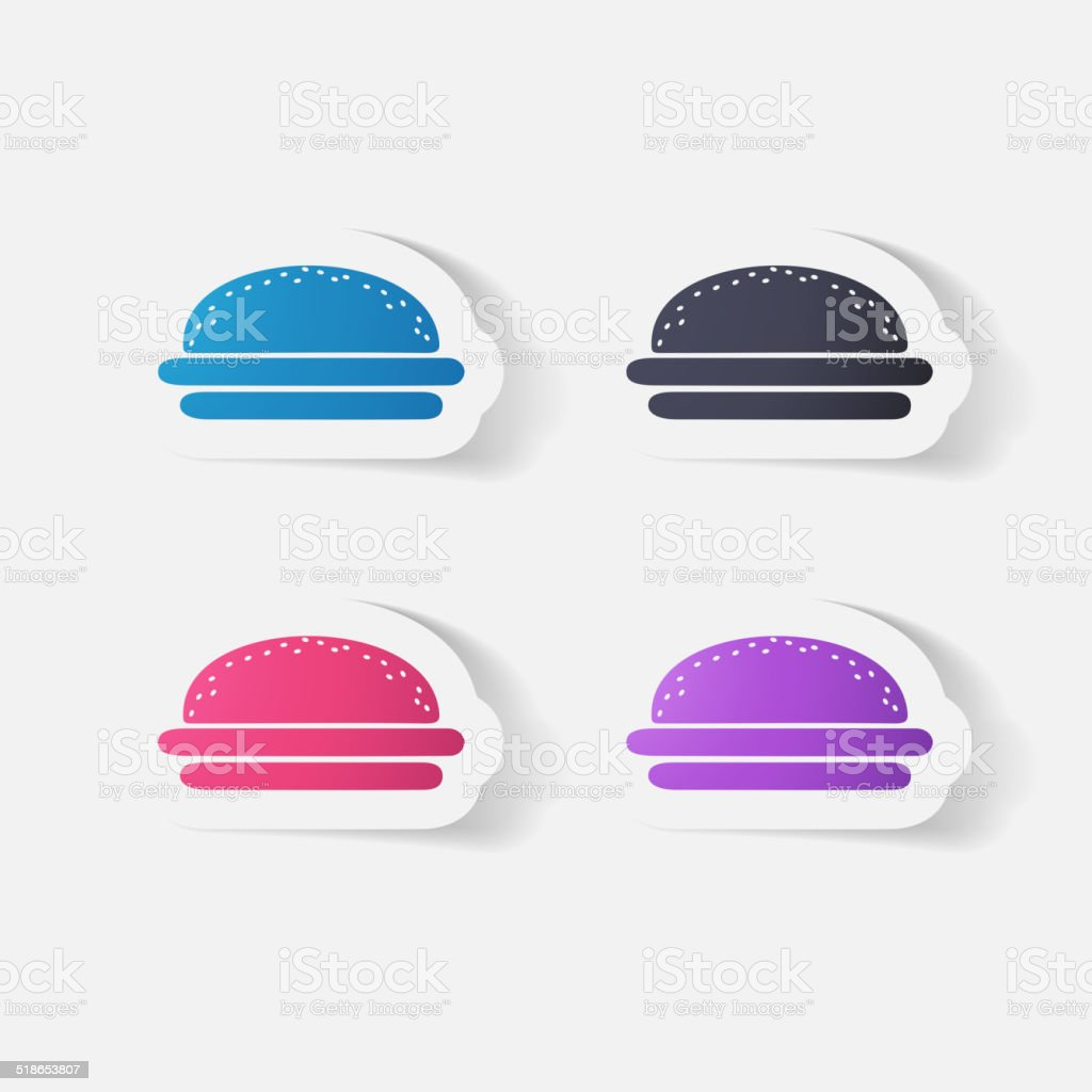 Paper clipped sticker: burger vector art illustration