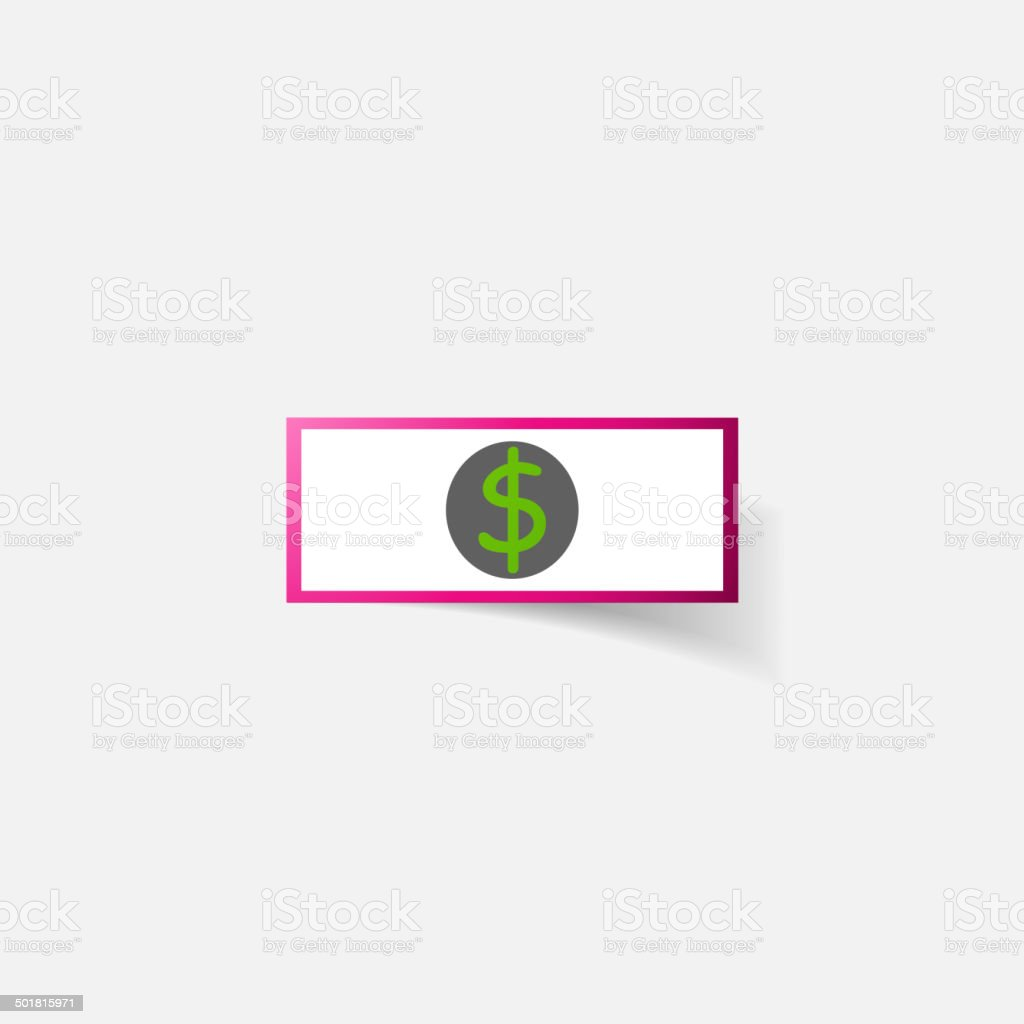 Paper clipped sticker: money, dollar bill with the image royalty-free stock vector art