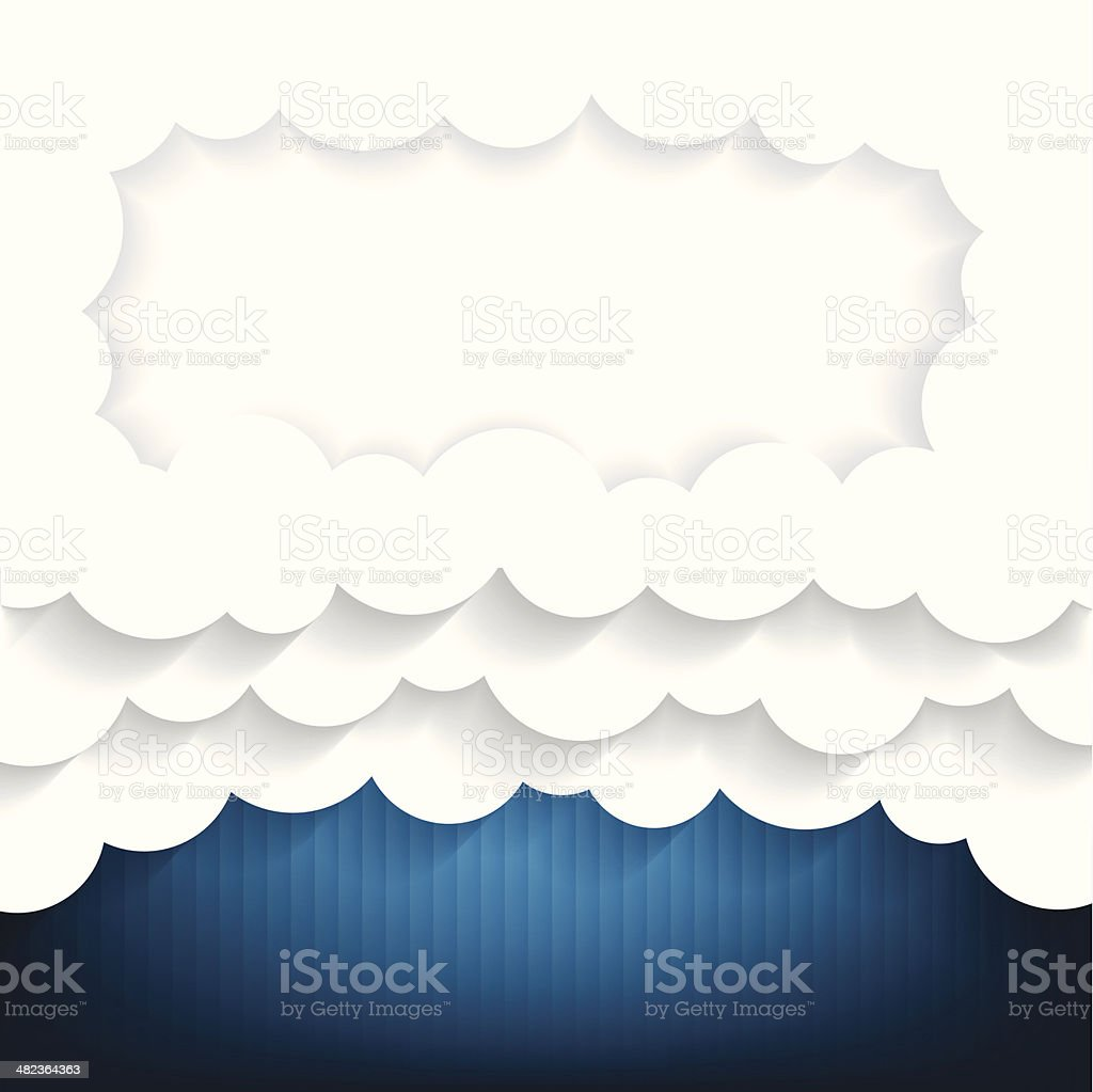 Paper clouds Background with cloudy frame royalty-free stock vector art