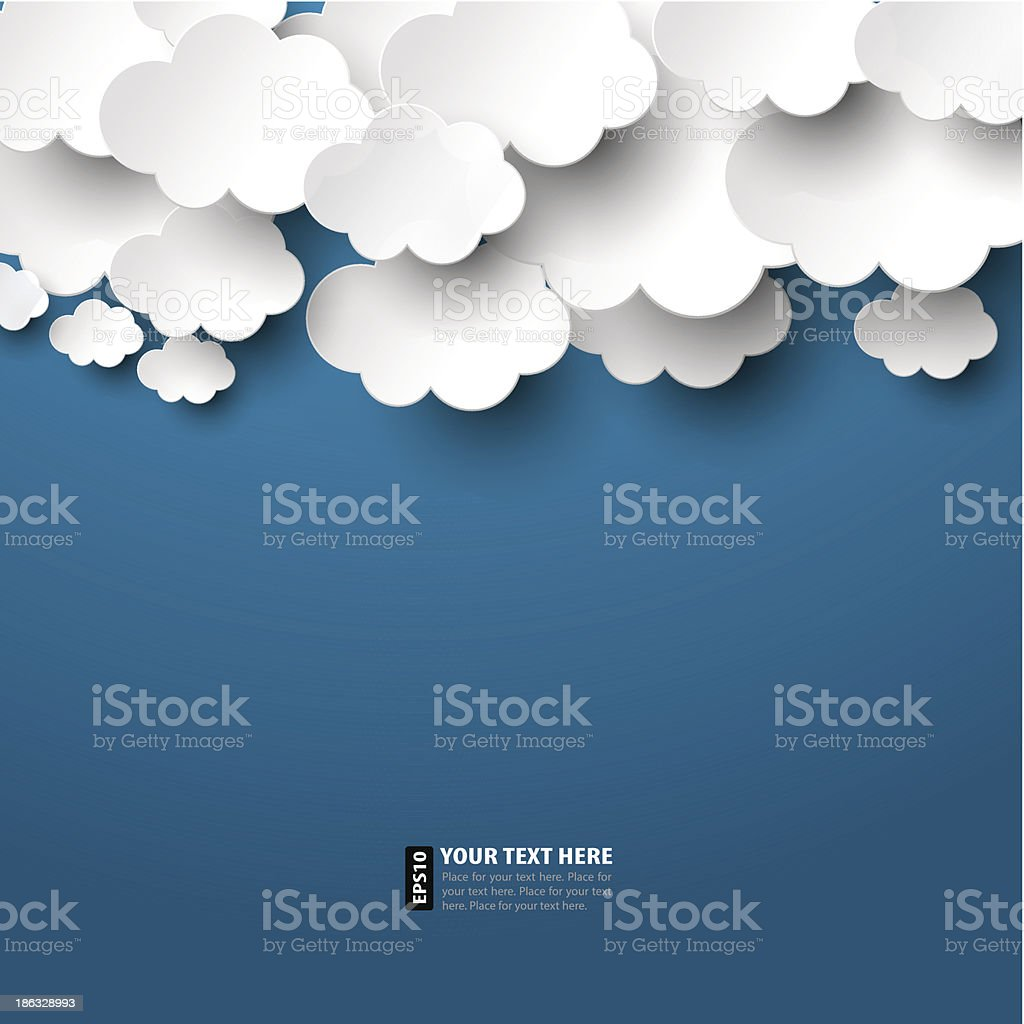 Paper Clouds vector art illustration