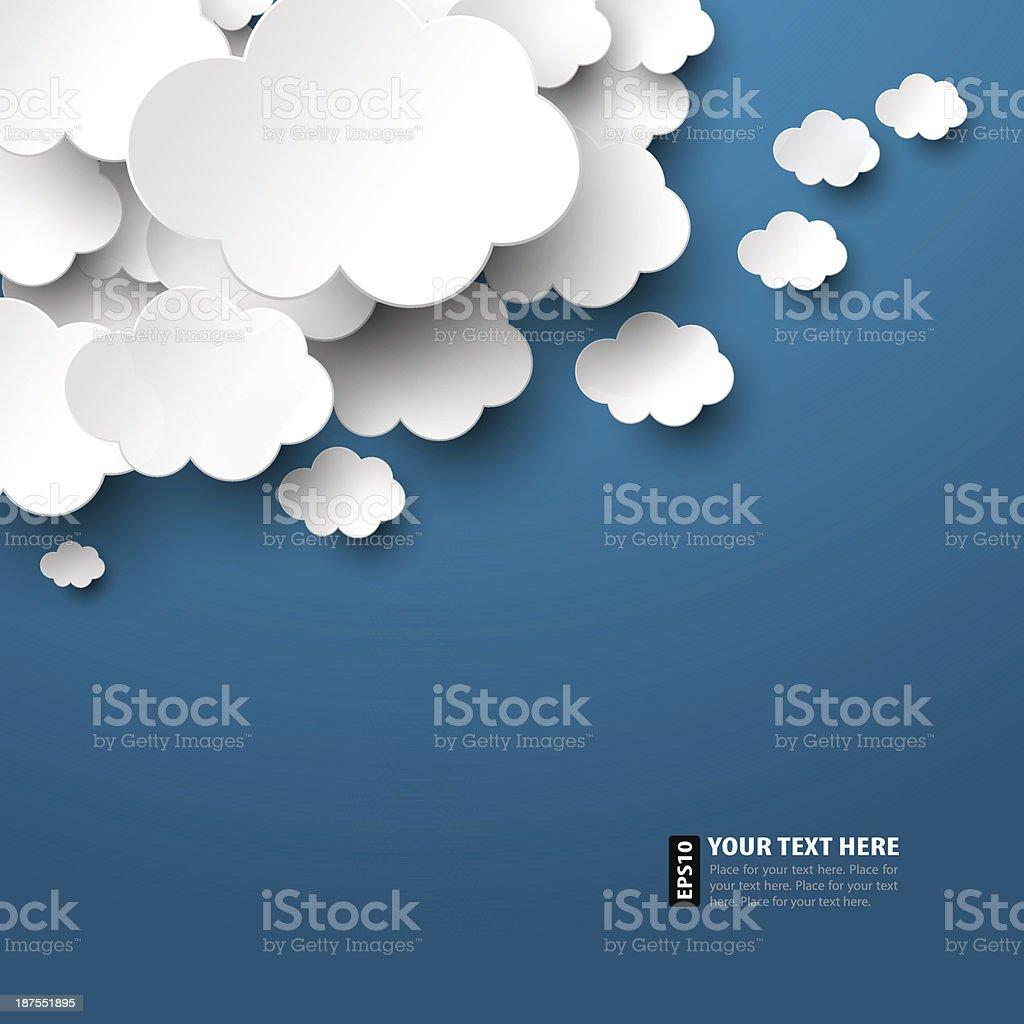 Paper Clouds vector art illustration