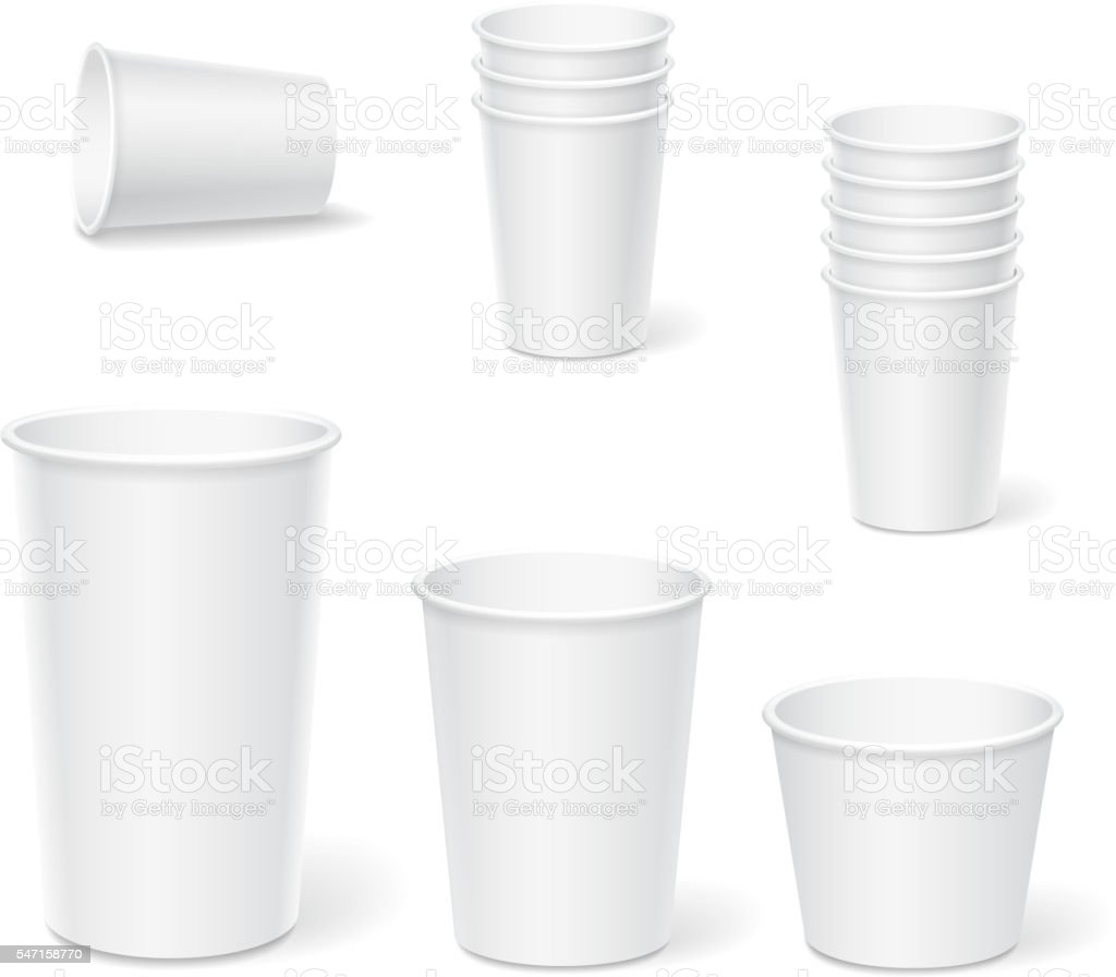 Paper coffee cups on a white background. vector art illustration