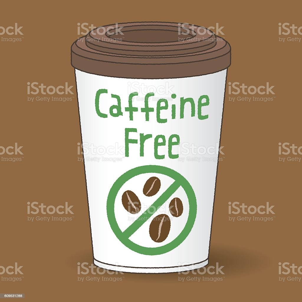 paper cup of decaf coffee to go vector art illustration