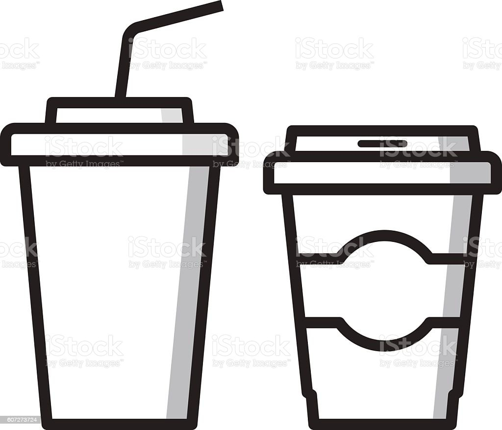 Paper cups for drinks. Fast food. Coffee and lemonade, cola. vector art illustration