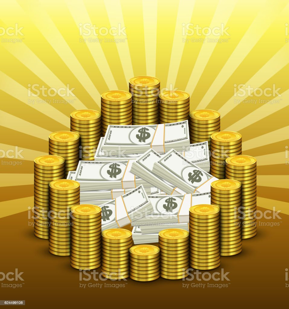 Paper currency and golden of coins vector art illustration