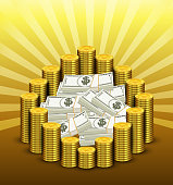 Paper currency and golden of coins