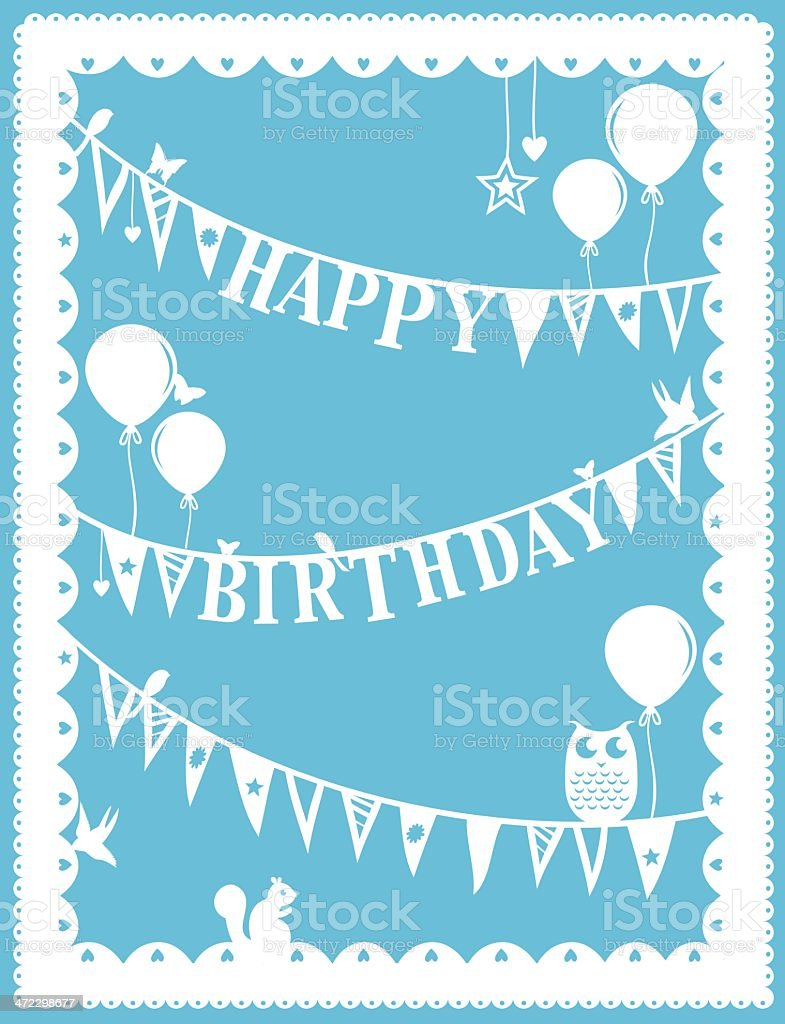 Paper Cut Birthday vector art illustration