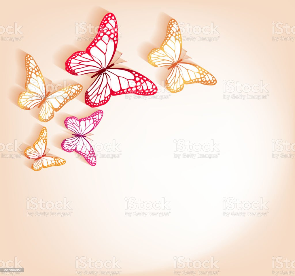 Paper Cut Butterflies Background Isolated for Spring vector art illustration