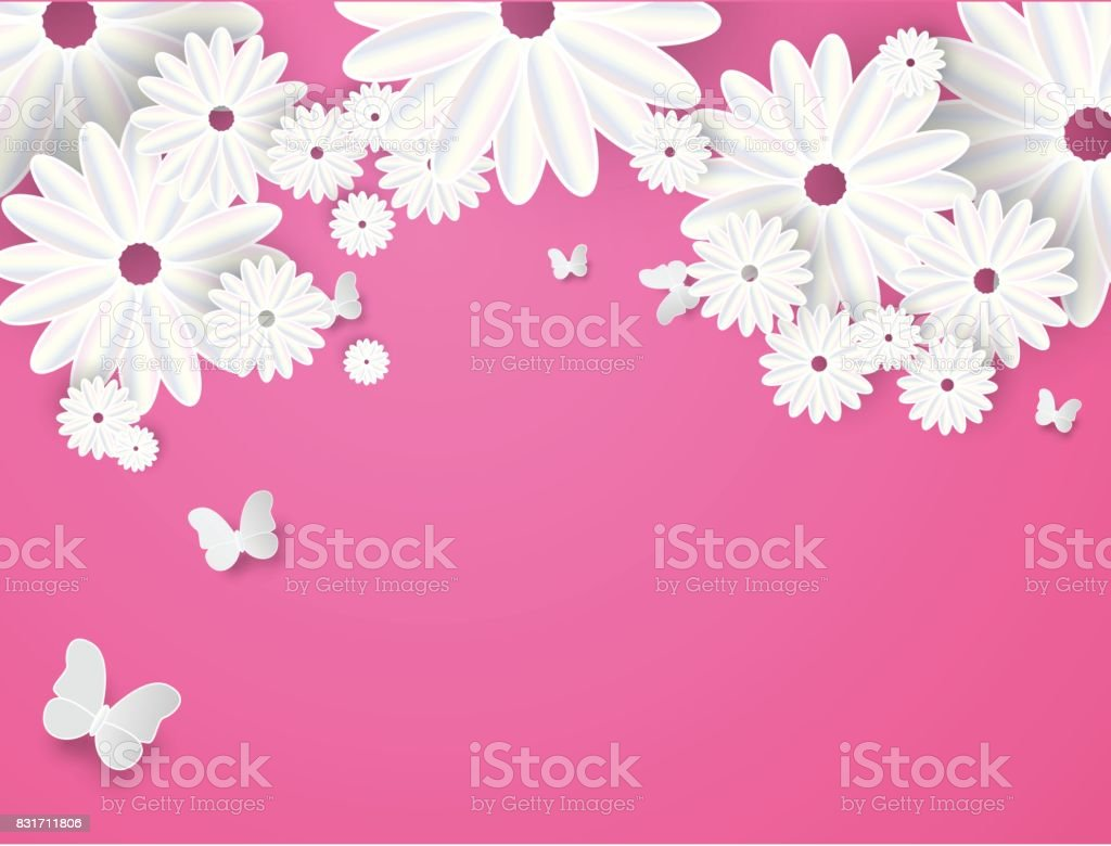 paper cut butterfly with flower background stock vector art