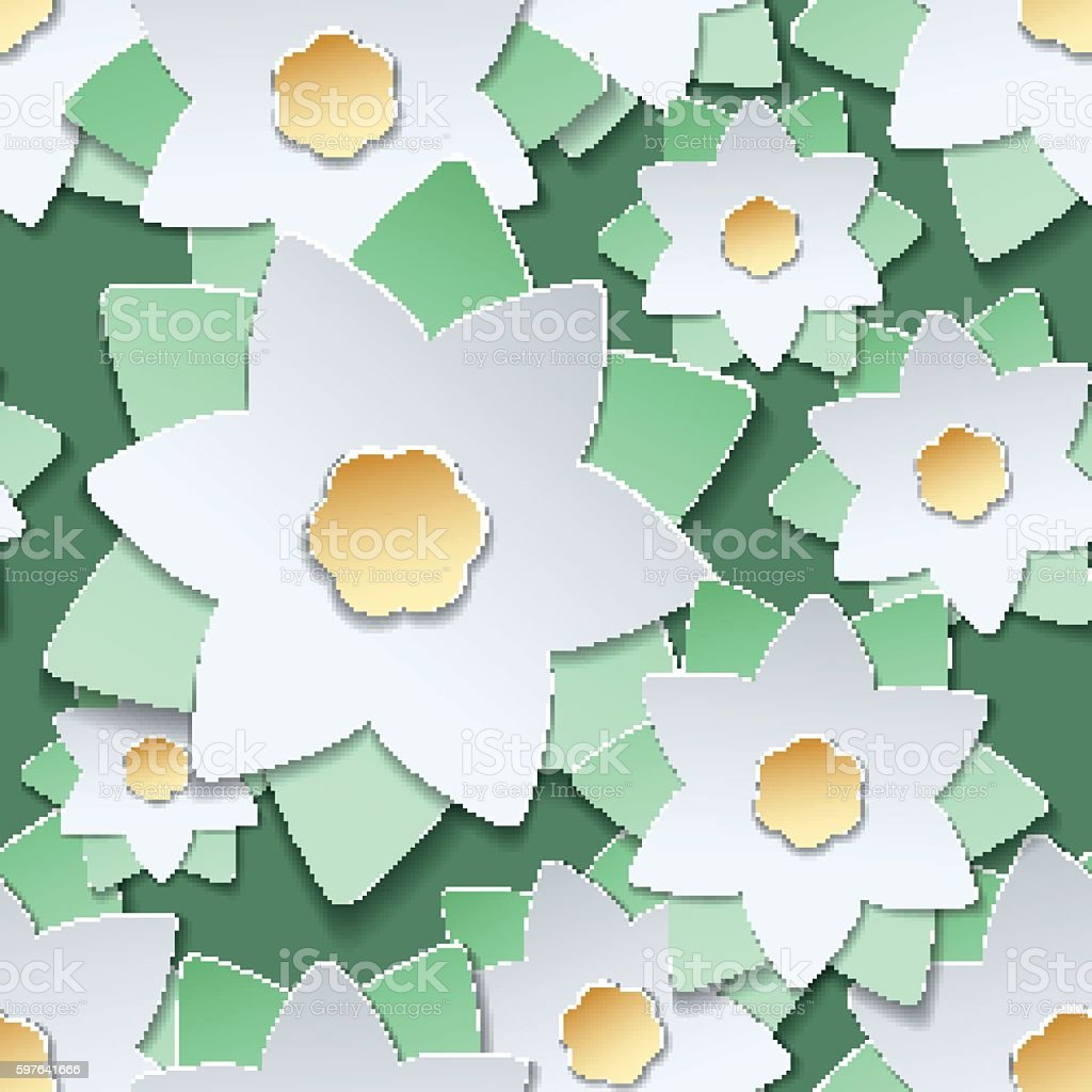 Paper cut flowers japanese style pattern vector art illustration