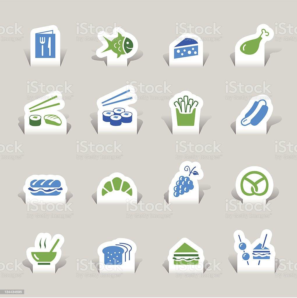 Paper cut - Food Icons vector art illustration