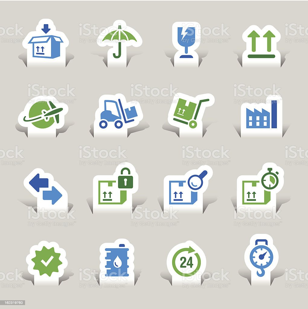 Paper Cut - Logistic and Shipping icons royalty-free stock vector art