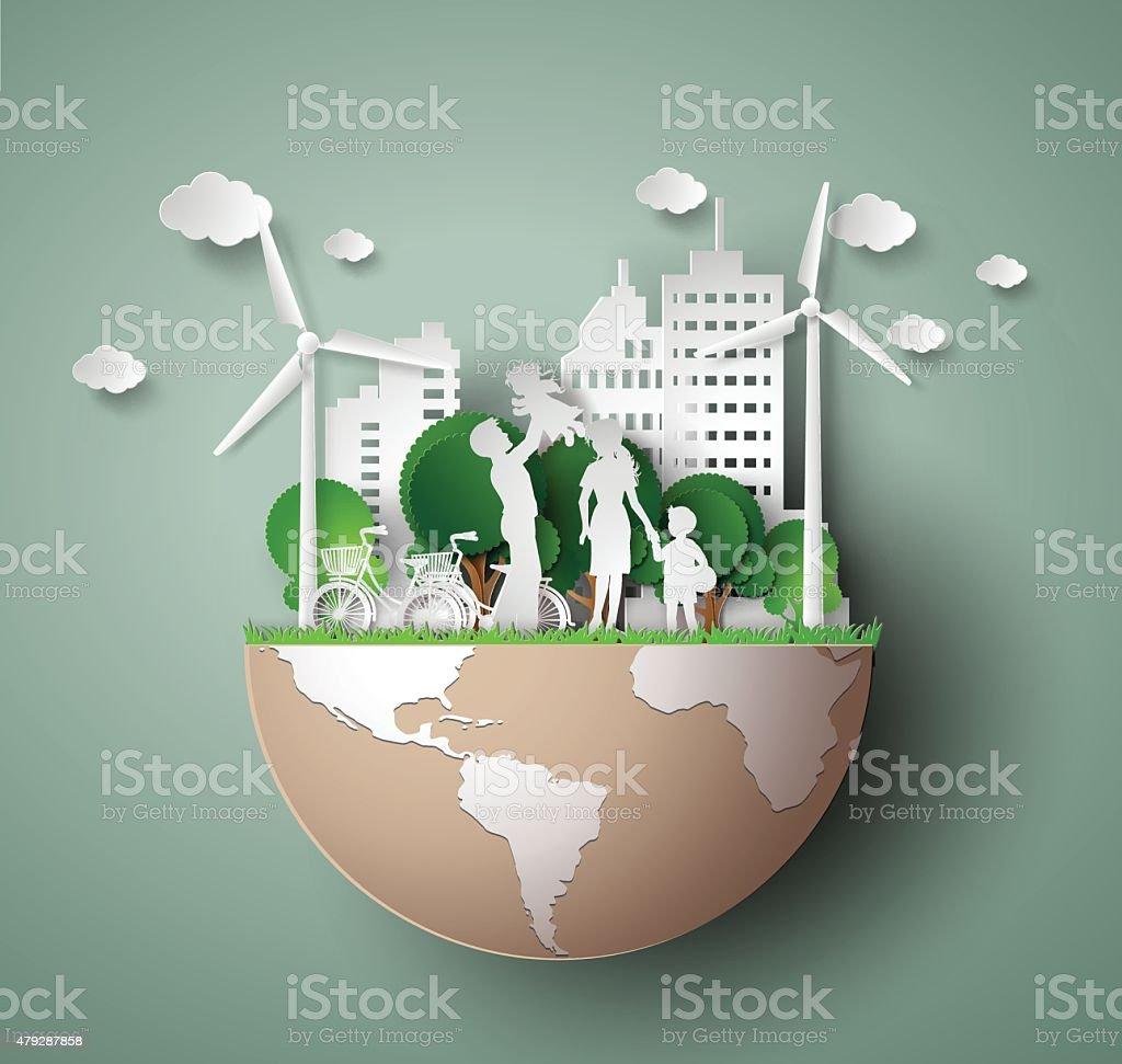 paper cut of eco vector art illustration
