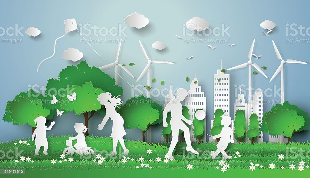paper cut of eco vector art illustration