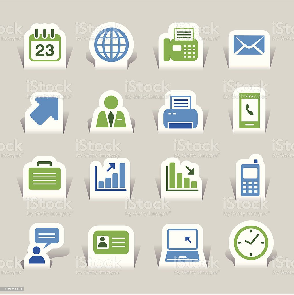 Paper Cut - Office and Business icons 01 vector art illustration