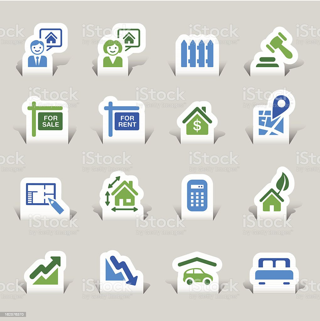 Paper Cut - Real estate icons royalty-free stock vector art